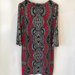 NICOLE MILLER paisley red multicolor dress